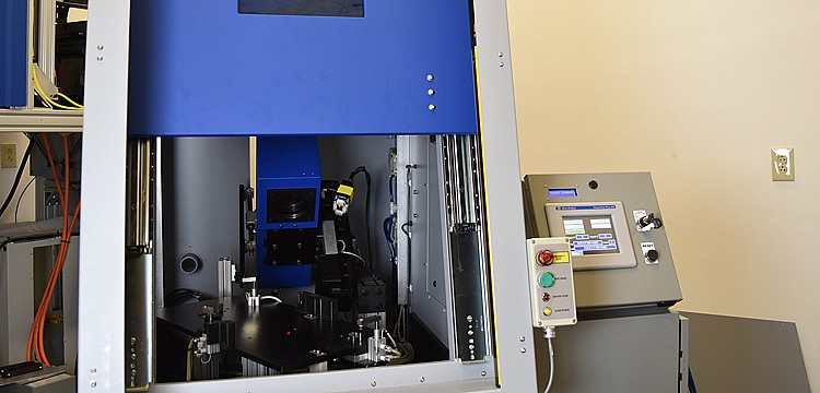 A view of the inside of the laser marking enclosure.
